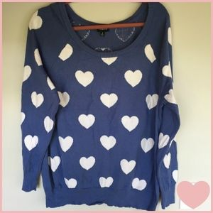 Blue Cotton Knit Sweater with White Hearts Size 2